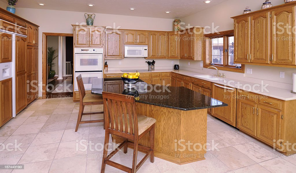 Modern Kitchen With Hardwood Cabinetry royalty-free stock photo