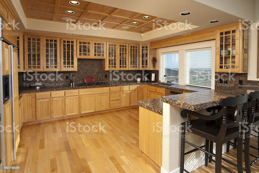 Modern kitchen with hardwood floors and cabinets royalty-free stock photo