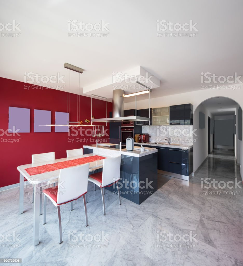 Picture of: Modern Kitchen With Island Marble Table And Leather Chairs Stock Photo Download Image Now Istock
