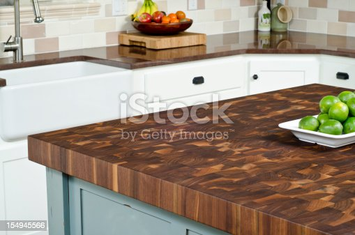 This kitchen gives a close up of the island.