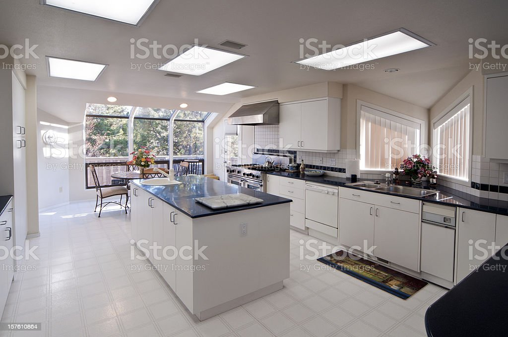 Modern kitchen with island stock photo