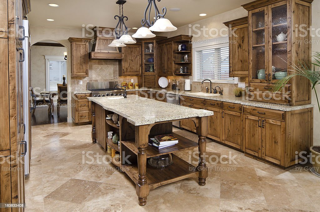 Modern kitchen with island royalty-free stock photo