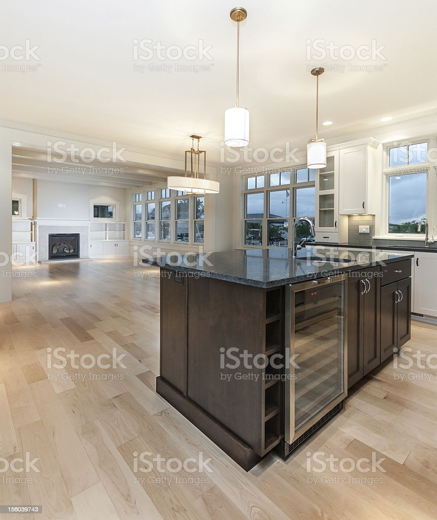 Modern kitchen with large island stock photo