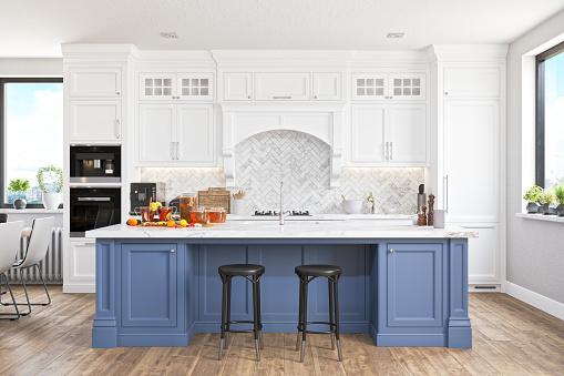 Empty modern luxurious kitchen with smart speaker.