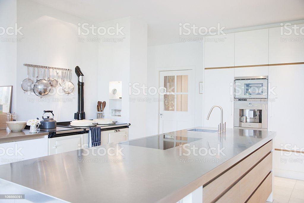 Modern kitchen with stainless steel counters stock photo