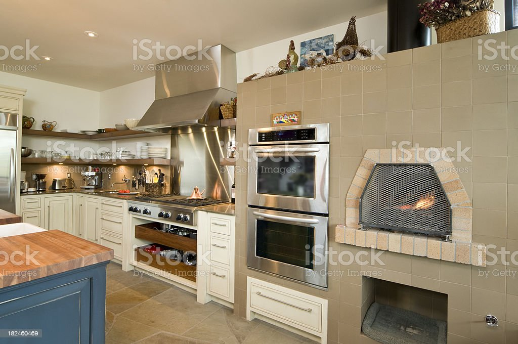 modern kitchen with stone oven royalty-free stock photo