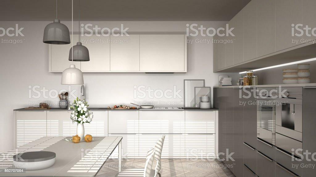 Mit Und Küche Fischgrätparkettboden Stühlen Moderne Tisch N0OkP8wnX