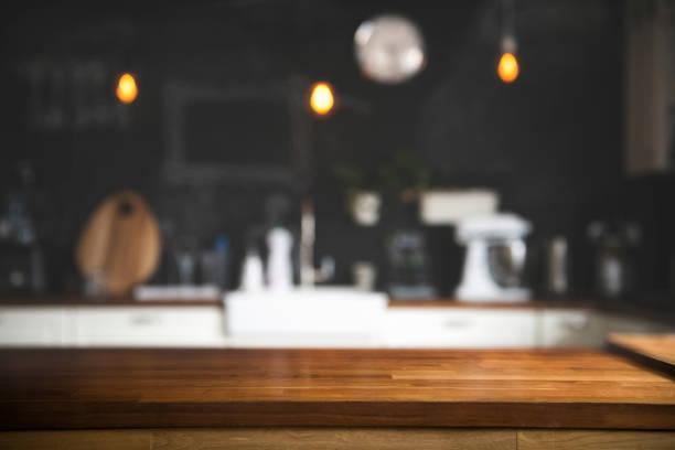 nowoczesna kuchnia z blatem i miejscem na wyświetlanie twoich produktów - kuchnia zdjęcia i obrazy z banku zdjęć