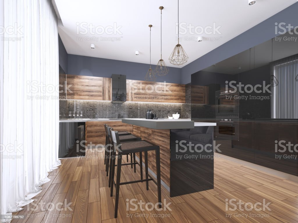 Image of: Modern Kitchen With Wood And Gloss Black Kitchen Cabinets Kitchen Island With Bar Stools Stone Countertops Builtin Appliances Stock Photo Download Image Now Istock
