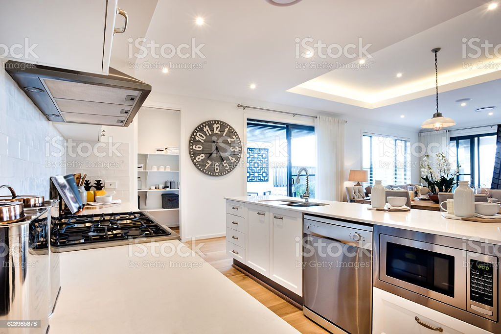 Modern kitchenware including a stove and ovens with big watch stock photo