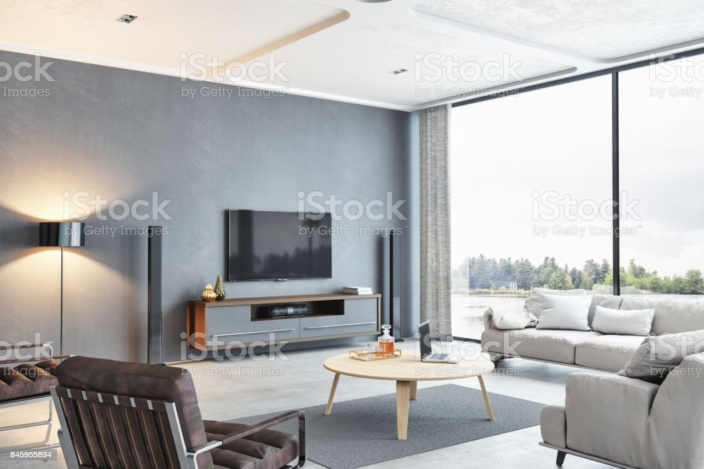 Modernes Haus am See-Wohnzimmer mit Blick auf den See – Foto