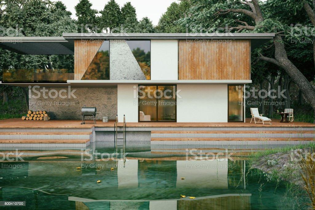 Modern Lake House stock photo