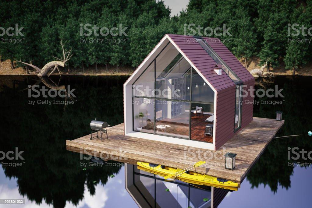 Modern Lake House - foto stock