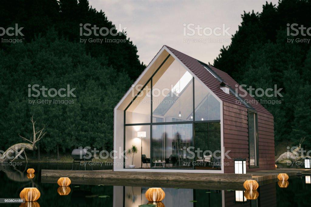 Moderna casa del lago foto de stock libre de derechos