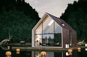 Modern cabin house floating above the lake