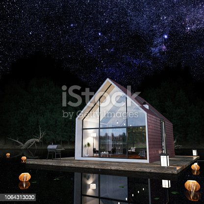 Modern cabin house floating above the lake at night