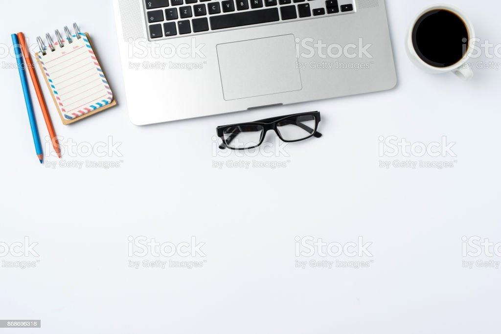 Moderne Laptop Und Business Accessoires Isoliert Auf Weissem