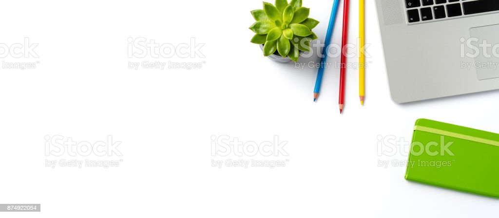 Modern laptop and business accessories isolated on white background stock photo