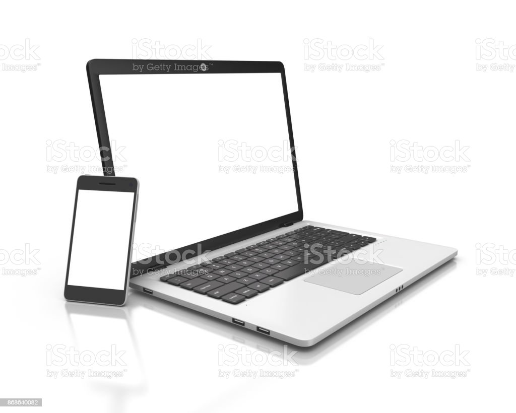 Modern Laptop and smartphone isolated on white. stock photo