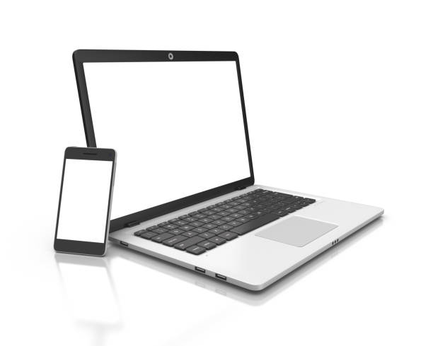 modern laptop and smartphone isolated on white. - laptop stock photos and pictures
