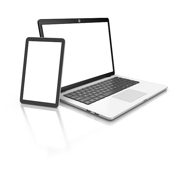 Modern Laptop and tablet isolated on white. – Foto