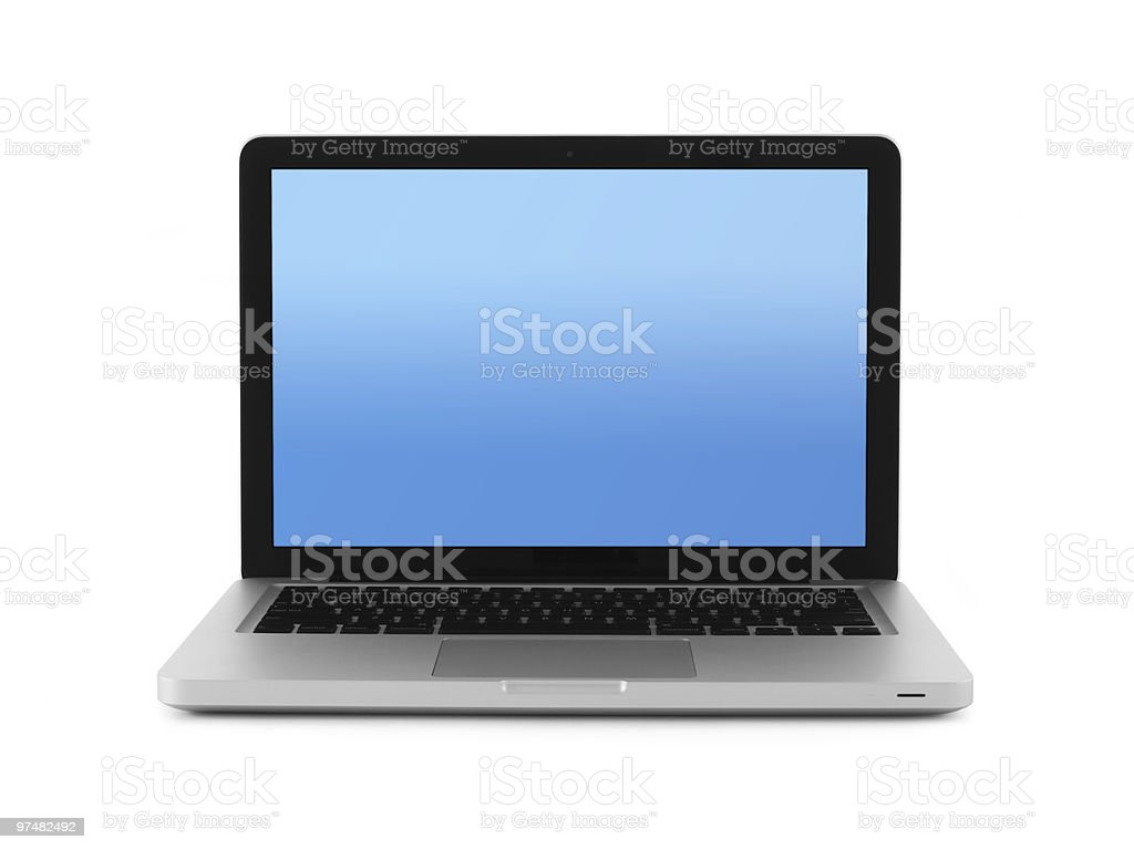 13' Modern Laptop Computer Aluminum Isolated w/ Clipping Path stock photo