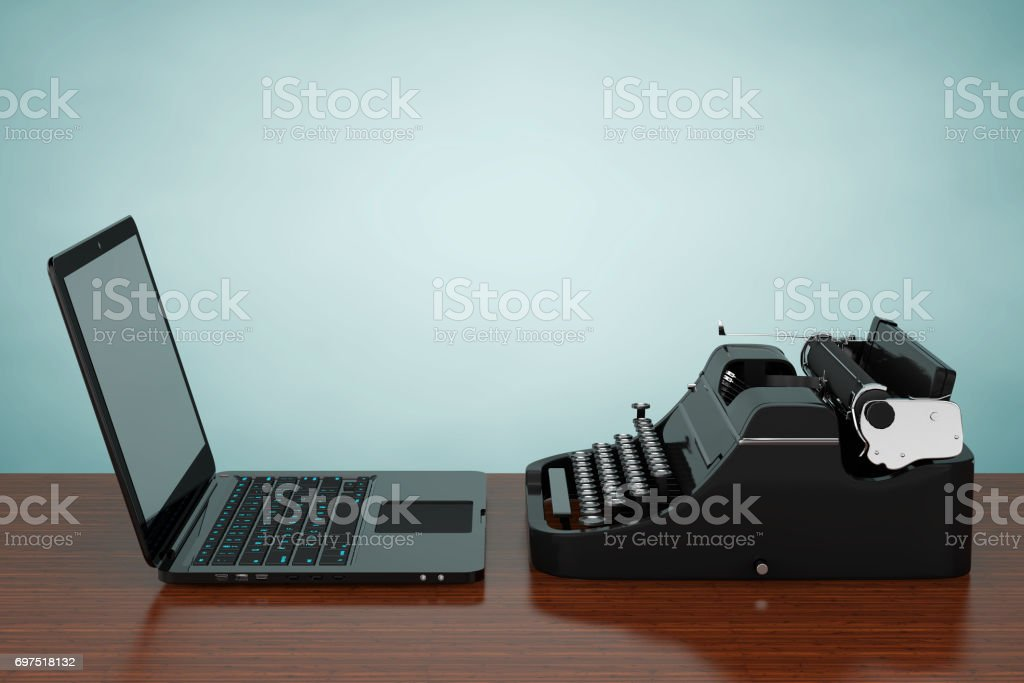 Moderne Laptop-Computer mit antike Schreibmaschine. 3D rendering – Foto