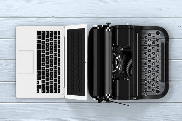 modern laptop computer with antique typewriter. 3d rendering - the past stock photos and pictures