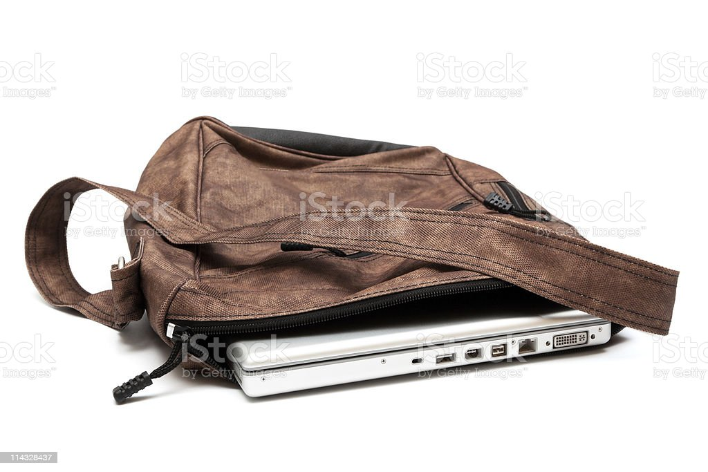 modern laptop in a bag stock photo