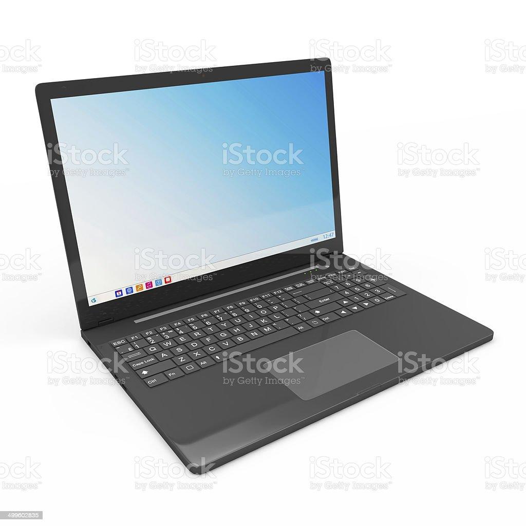 Modern Laptop isolated on white background stock photo