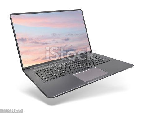 Modern laptop on white background. This file is cleaned, retouched and contains clipping paths.