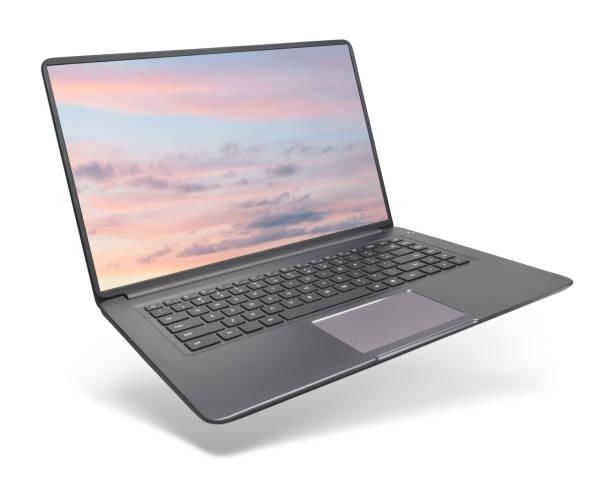 portátil moderno no fundo branco - laptop - fotografias e filmes do acervo
