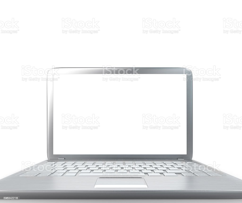 Modern laptop PC on glass table isolated on white royalty-free stock photo