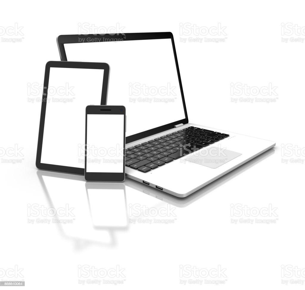 Moderne Laptop, Tablet und Smartphone isoliert auf weiss. 3D rende - Lizenzfrei Auslage Stock-Foto