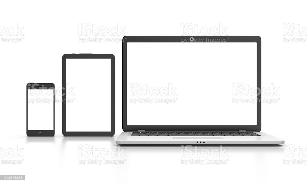 Modern Laptop, tablet and smartphone isolated on white. stock photo