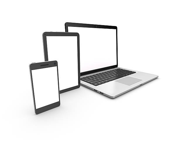 Modern laptop, tablet and smartphone isolated on white. – Foto