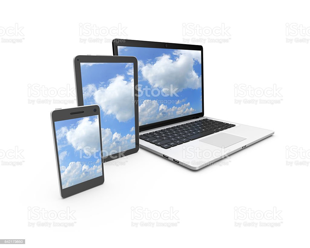 Modern laptop, tablet and smartphone with blue sky on screen. - foto de acervo