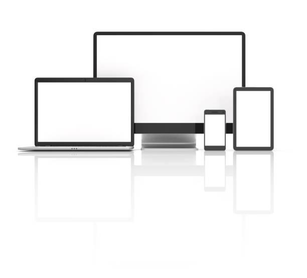 Moderne Laptop, Tablet, Telefon und pc isoliert auf weiss. – Foto