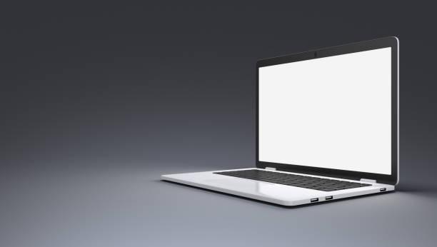 Moderner Laptop mit leuchtendem Display auf grauem Hintergrund – Foto