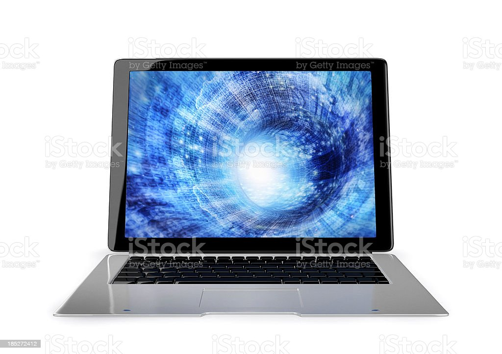 Modern laptop with binary code tunnel on the monitor stock photo