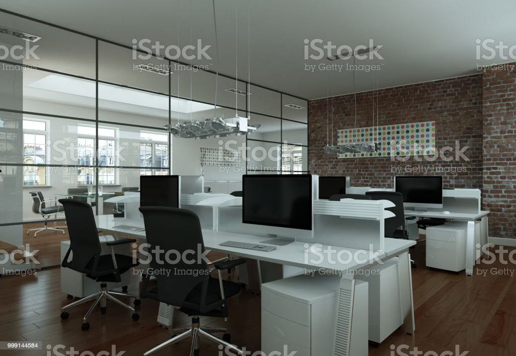 modern large office interior Design 3d Rendering mock up