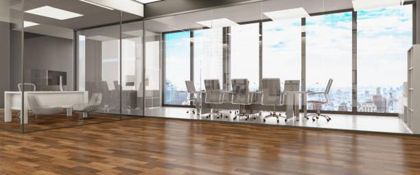 Modern Large Office Interior Design Panorama stock photo