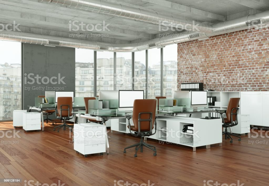 modern large office interior Desing 3d Rendering mock up