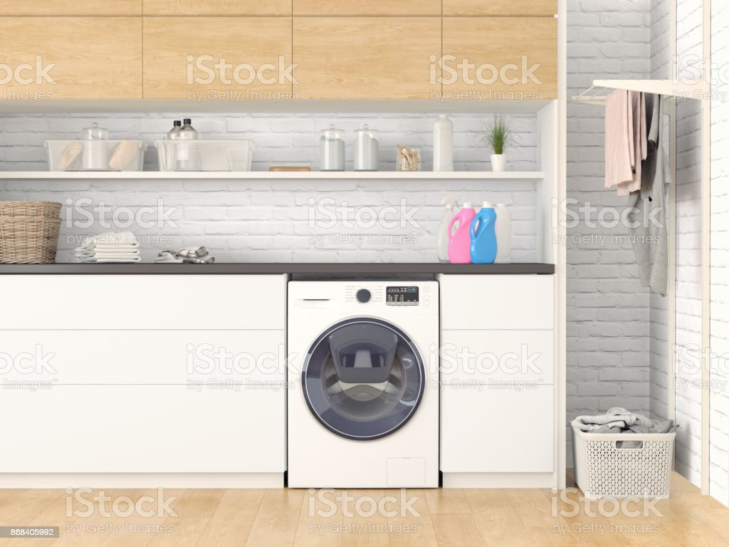 Modern Laundry room stock photo