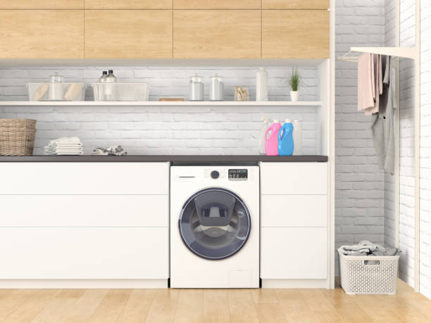 modern laundry room - laundry laundry room stock pictures, royalty-free photos & images