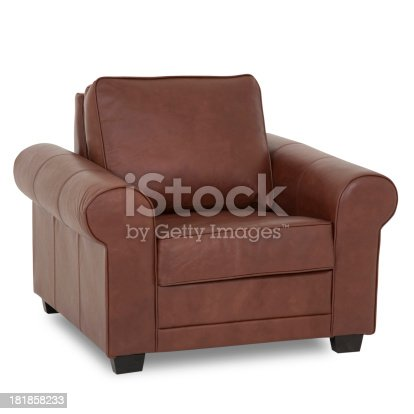 Leather recliner with clipping path. Studio isolated on white background.