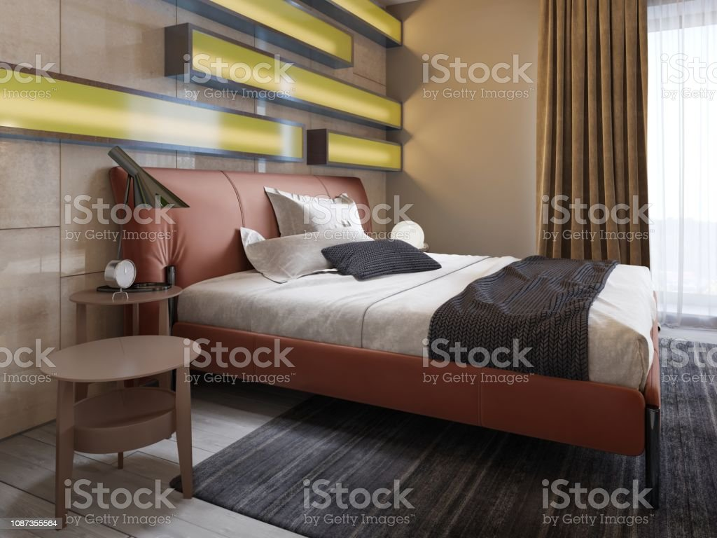 Modern Leather Bed With Side Tables With Lamps In The Contemporary Bedroom Illuminated Shelves Glossy Wall Panels Leather Headboard Stock Photo Download Image Now Istock