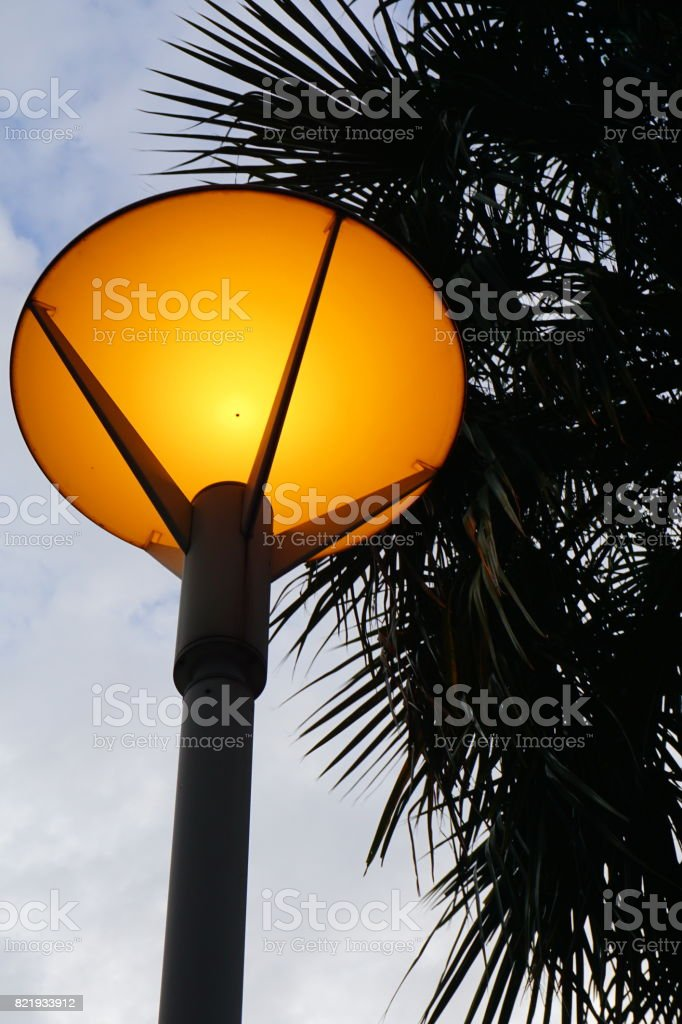 Modern LED street lamp with reflector stock photo