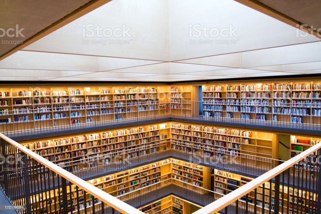 modern library Books in a modern library Architecture Stock Photo