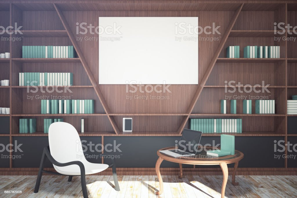 Modern library with blank banner royalty-free stock photo